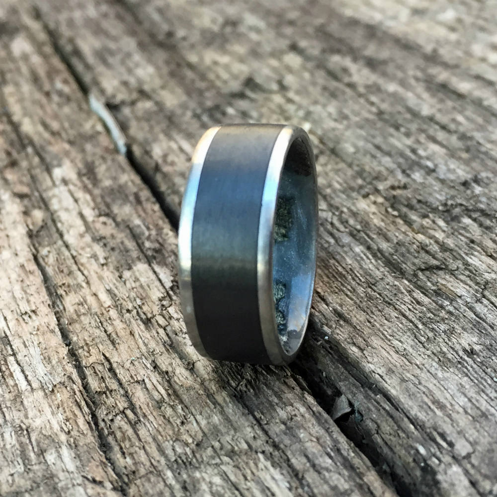 Carbon Fiber Ring, Titanium Ring, Wood Ring, Wood Inlay Ring, Engagement Ring, Wedding Ring, Wood Wedding Band, Mens Ring, Cactus Ring