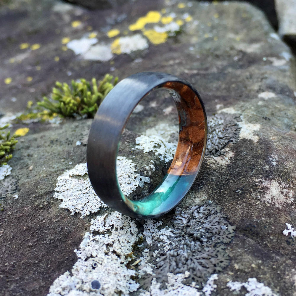 Carbon Fiber Ring, Wood Ring, Wood Inlay Ring, Engagement Ring, Wedding Ring, Wood Wedding Band, Mens Ring, Forest Ring, Maple Burl Ring