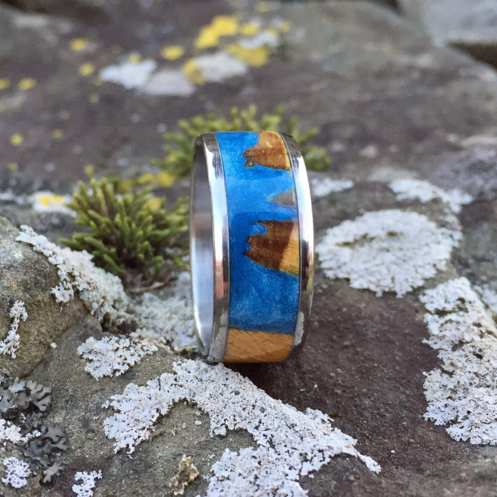 Titanium Ring, Sky Blue Ring, Cholla Cactus Wood Ring, Resin Cast Hybrid Wood Ring, Wood Wedding Band, Engagement Ring, Anniversary Band