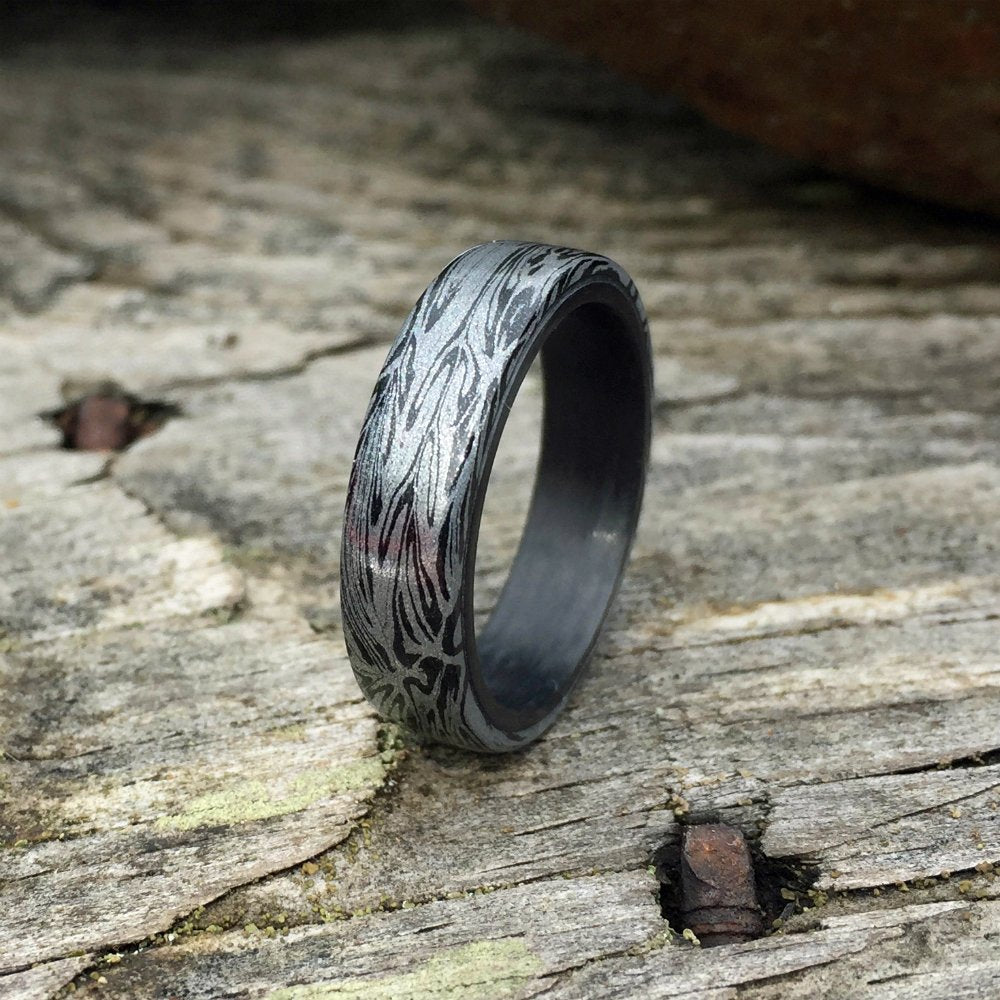 DAMASCUS MOKUME GANE & CARBON FIBER WEDDING RING
