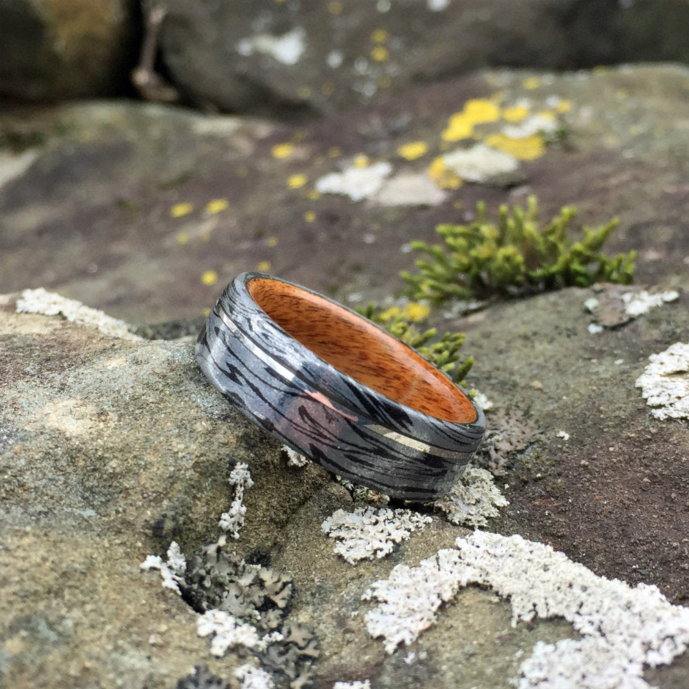Mokume Gane Ring, Damascus Ring, Composite Ring, Inlay Ring, Sterling Silver, Bentwood Ring, Rosewood Ring, Mens Ring, Wood Wedding Band