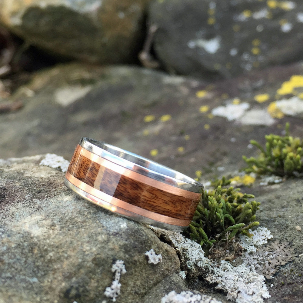 Rosewood & Titanium Wood Ring. Titanium Rosewood Copper Inlay Ring. Rosewood Bentwood Ring. Wood Wedding Band. Unique Wood Ring