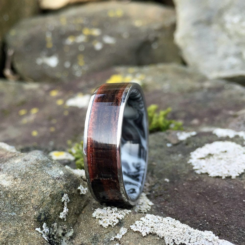 MACASSAR EBONY WOOD WEDDING RING WITH TITANIUM EDGES AND MARBLE RESIN INTERIOR