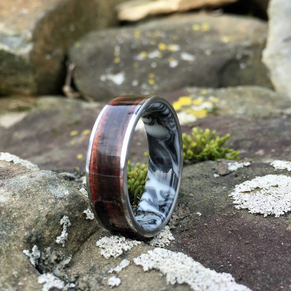 Bentwood Ring, Resin Ring, Titanium Ring, Inlay Ring, Engagement Ring, Wedding Ring, Wood Wedding Band, Mens Ring, Macassar Ebony Ring