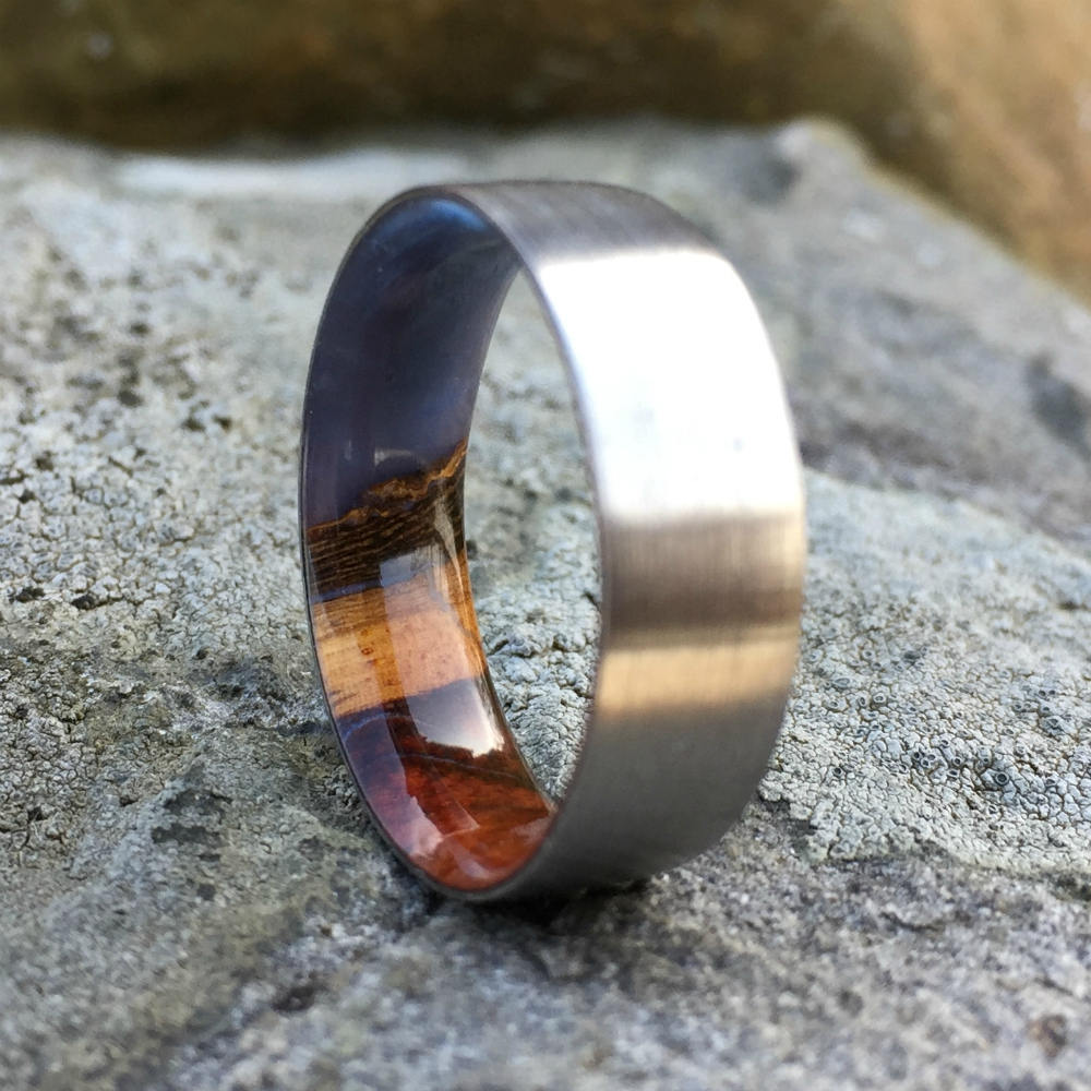 Titanium Ring, Wood Ring, Wood Inlay Ring, Engagement Ring, Wedding Ring, Wood Wedding Band, Mens Ring, Womens Ring, Amboyna Burl Ring