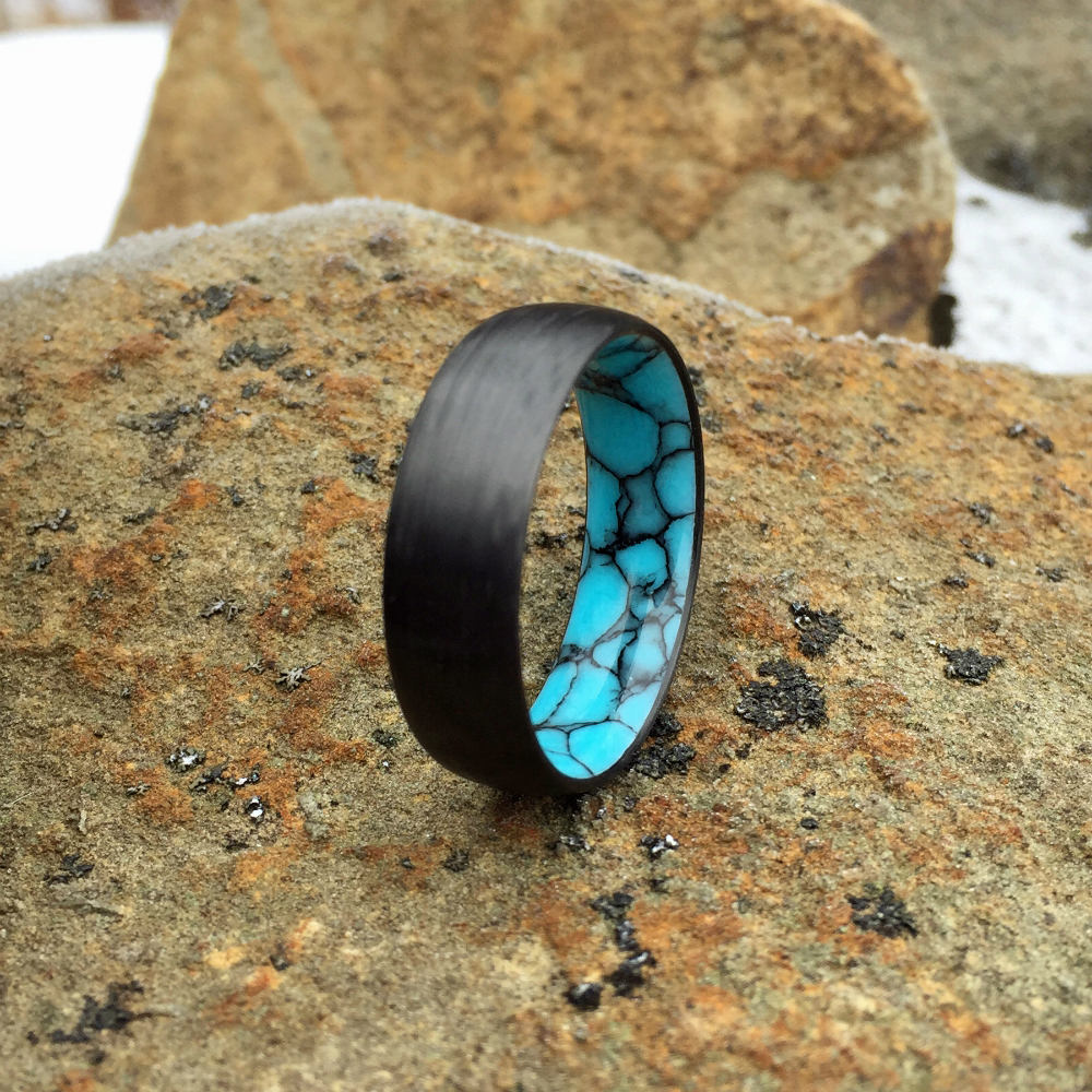 Carbon Fiber Ring, Turquoise Ring, Inlay Ring, Engagement Ring, Wedding Ring, Wedding Band, Mens Ring, Womens Ring, Stone Ring, Black Ring
