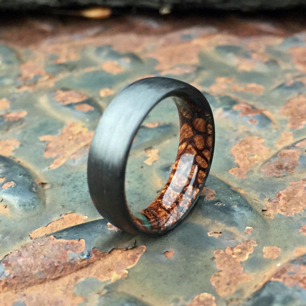 Carbon Fiber Ring, Wood Ring, Wood Inlay Ring, Engagement Ring, Wedding Ring, Wood Wedding Band, Mens Ring, Black Ring, Banksia Pod Ring