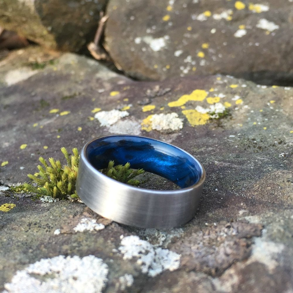Titanium Ring, Inlay Ring, Resin Ring, Mens Wedding Band, Black and Blue Ring, Blue Ring, Titanium Wedding Ring, Mens Ring, Womens Ring