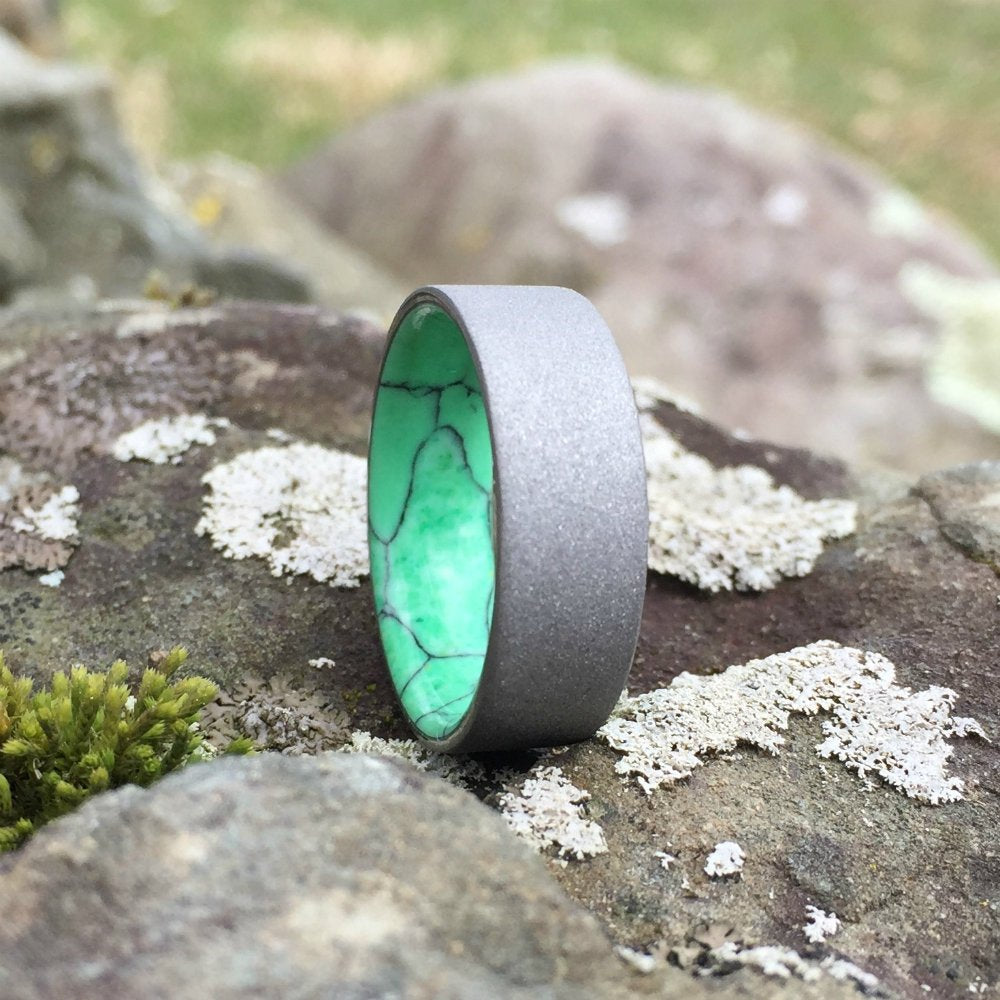 Titanium Ring, Sandblasted Titanium Ring, Gray Wedding Ring, Inlay Ring, Engagement Ring, Wedding Ring, Wedding Band, Green Ring, Stone Ring