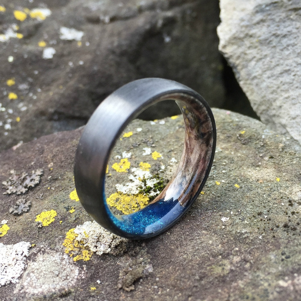 Carbon Fiber Ring, Wood Ring, Wood Inlay Ring, Engagement Ring, Black Wedding Ring, Wood Wedding Band, Mens Ring, Maple Burl Ring