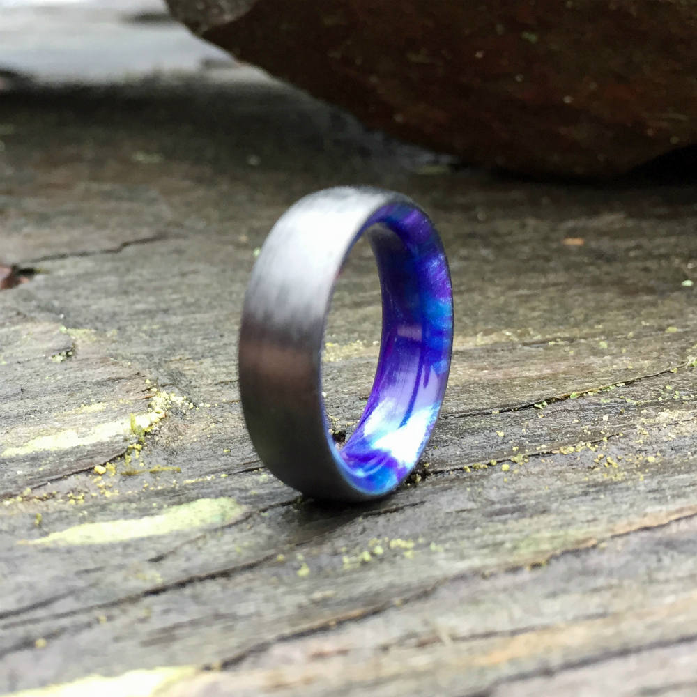 Carbon Fiber Ring, Inlay Ring, Resin Ring, Mens Wedding Band, Purple and Blue Ring, Resin Ring, Carbon Wedding Ring, Mens Ring, Womens Ring