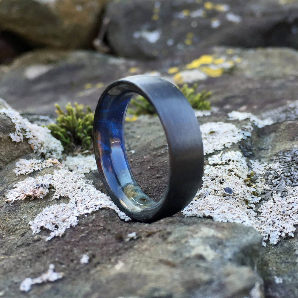 Carbon Fiber Ring, Wood Ring, Wood Inlay Ring, Engagement Ring, Wedding Ring, Wood Wedding Band, Mens Ring, Space Ring, Buckeye Burl Ring