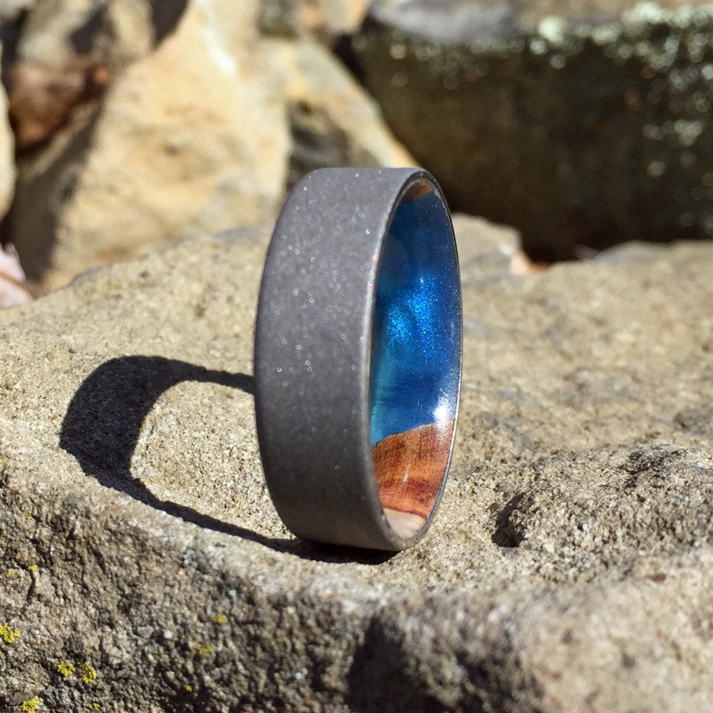 Grey Wedding Ring, Titanium Ring, Gray Wedding Band, Resin Ring, Sandblasted Titanium Ring, Wood Wedding Band, Wood Engagement Ring, Custom