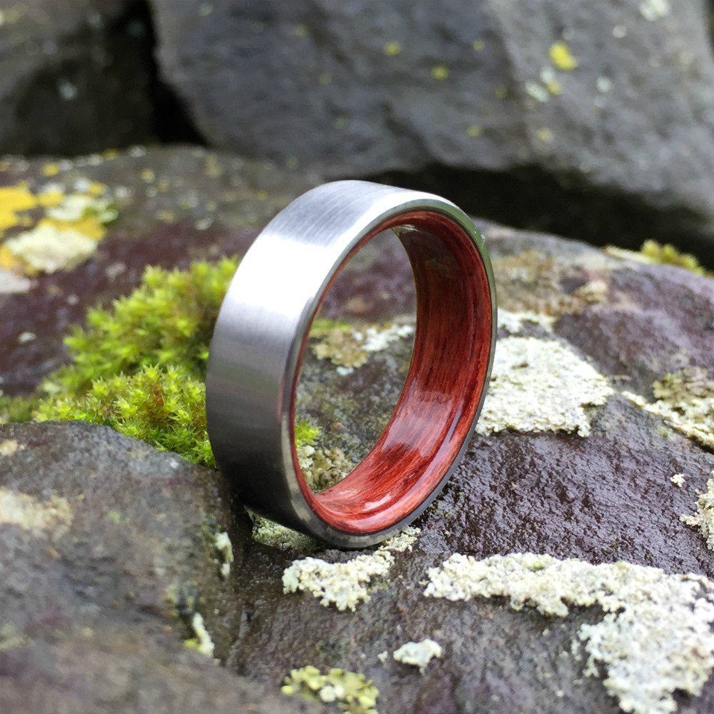 Titanium Wood Ring, Unique Wood Ring, Wood Inlay Ring, Wedding Ring, Wood Wedding Band, Mens Titanium Ring, Bentwood Ring, Rosewood Ring