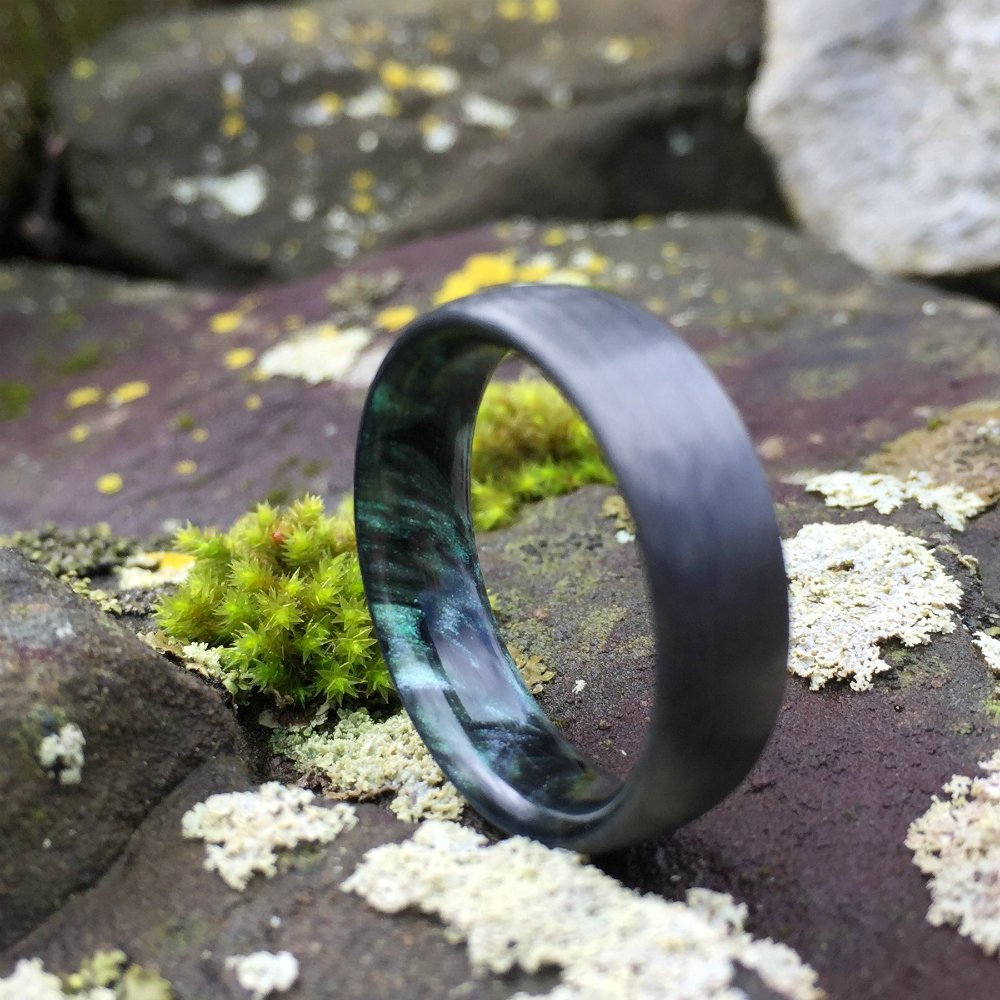 Carbon Fiber Ring, Inlay Ring, Resin Ring, Mens Wedding Band, Green and Black Ring, Green Ring, Carbon Wedding Ring, Mens Ring, Womens Ring