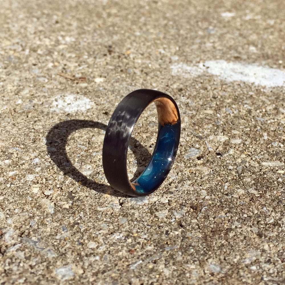 Limited Edition Carbon Fiber Ring, Wood Ring, Wood Inlay Ring, Engagement Ring, Wedding Ring, Wood Wedding Band, Mens Ring, Womens Ring