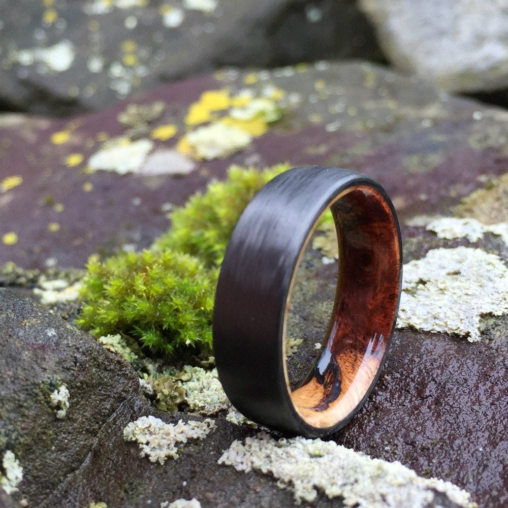 Carbon Fiber Ring, Wood Ring, Wood Inlay Ring, Engagement Ring, Wedding Ring, Wood Wedding Band, Mens Ring, Womens Ring, Amboyna Ring