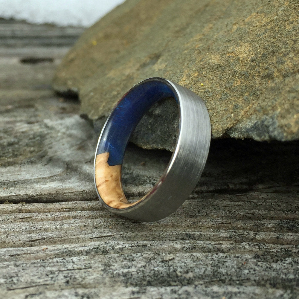 Titanium Ring, Wood Ring, Resin Ring, Mens Ring, Wood Wedding Band, Womens Ring, Custom Wood Wedding Band, Wood Engagement Ring, Coolibah