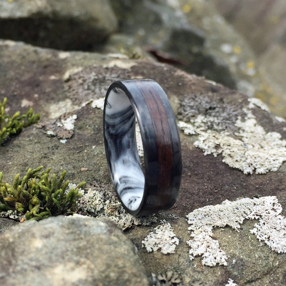 Carbon Fiber Ring, Inlay Ring, Resin Ring, Mens Wedding Band, Bentwood Ring, Ebony Ring, Mens Ring, Marble Ring, Black & White Ring
