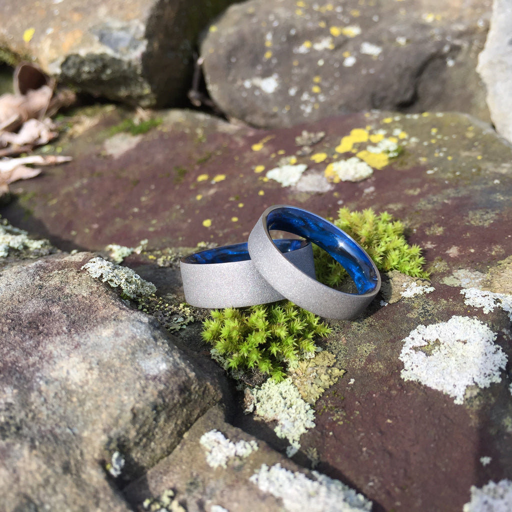 Titanium Ring, Inlay Ring, Resin Ring, Mens Wedding Band, Black and Blue Ring, Grey Ring, Blue Ring, Mens Ring, Gray Ring, Wedding Ring
