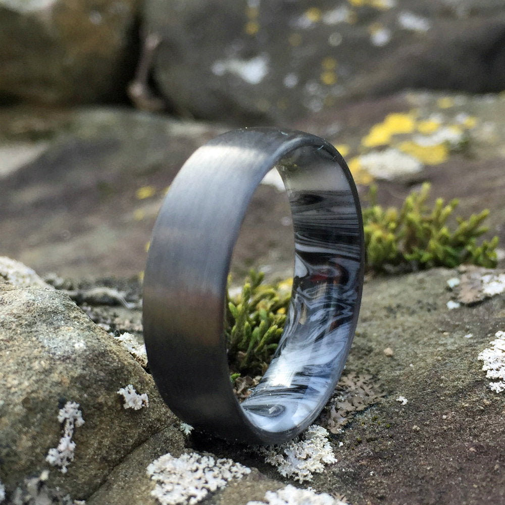 Carbon Fiber Ring, Inlay Ring, Resin Ring, Mens Wedding Band, Marble Ring, Black and White Ring, Carbon Wedding Ring, Mens Ring, Womens Ring