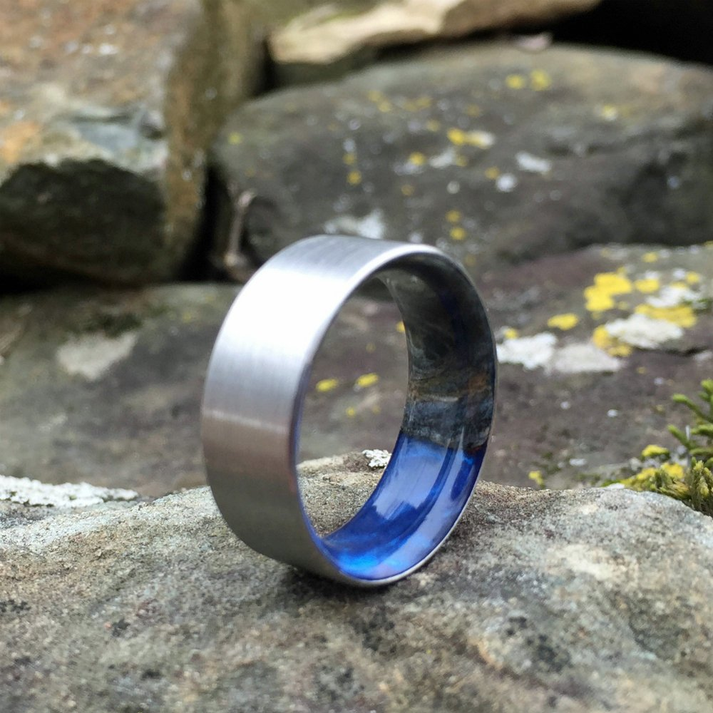 Titanium Ring, Wood Ring, Wood Inlay Ring, Engagement Ring, Blue Ring, Wood Wedding Band, Mens Wedding Ring, Space Ring, Buckeye Burl