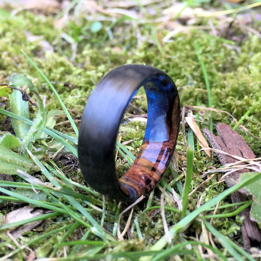 Carbon Fiber Ring, Wood Ring, Wood Inlay Ring, Engagement Ring, Wedding Ring, Wood Wedding Band, Mens Ring, Blue Ring, Banksia Pod Ring