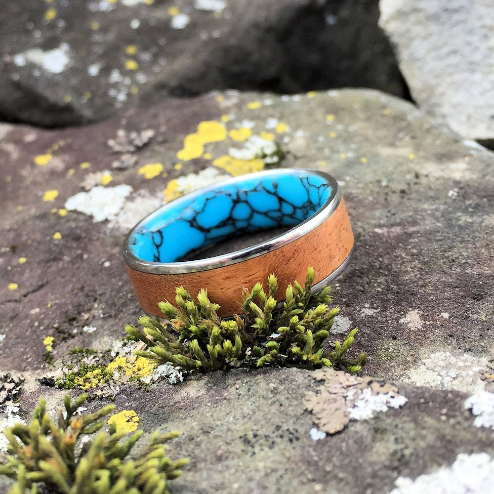 Titanium Ring, Wood Ring, Stone Ring, Steel Ring, Inlay Ring, Engagement Ring, Wedding Ring, Wood Wedding Band, Mens Ring, Turquoise Ring