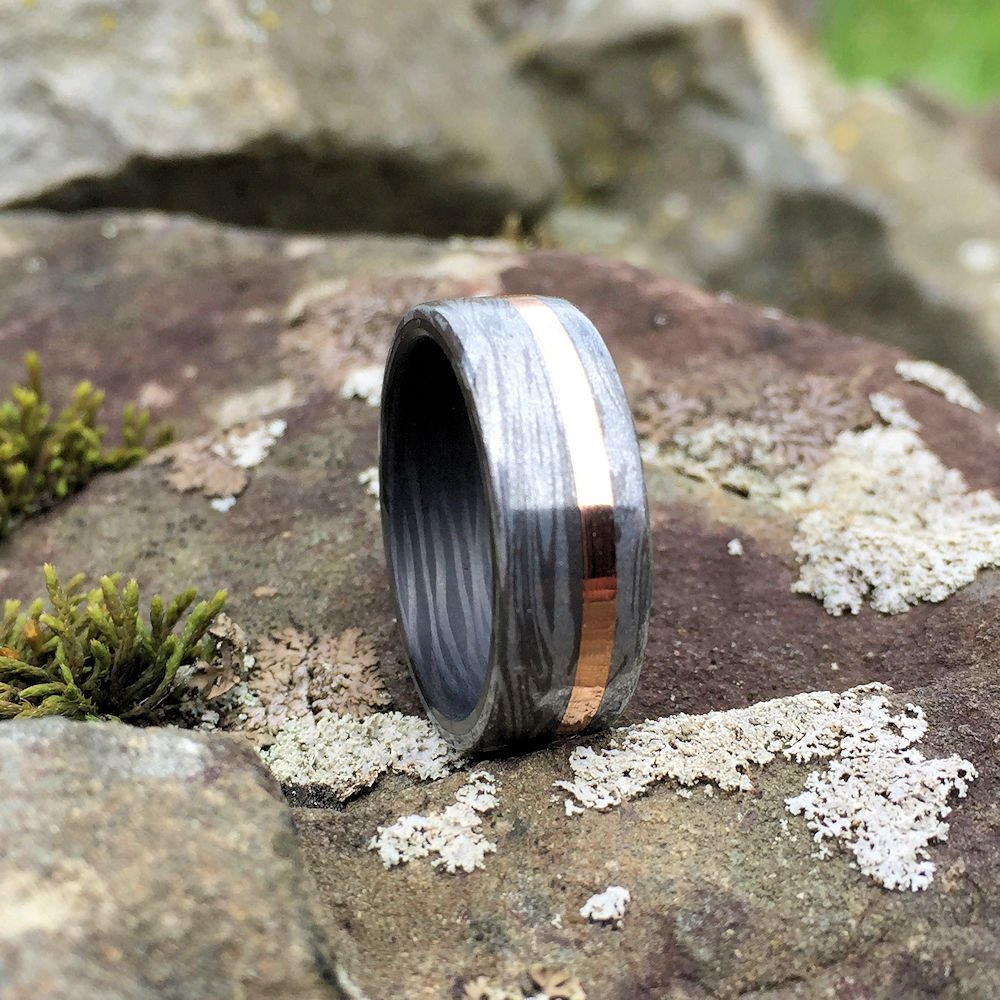 Mokume Gane Ring, Inlay Ring, Engagement Ring, Wedding Ring, Wedding Band, Mens Ring, Carbon Fiber Ring, Copper Ring, Carbon Wave Ring