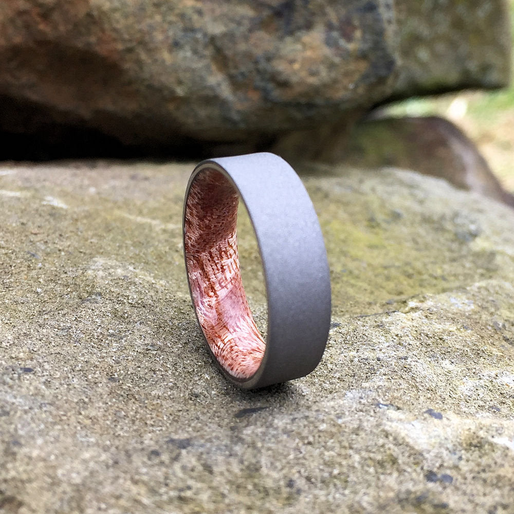 Titanium Ring, Koa Ring, Wood Inlay Ring, Engagement Ring, Wedding Ring, Wood Wedding Band, Mens Ring, Wood Ring, Curly Koa, Grey Ring, Gray