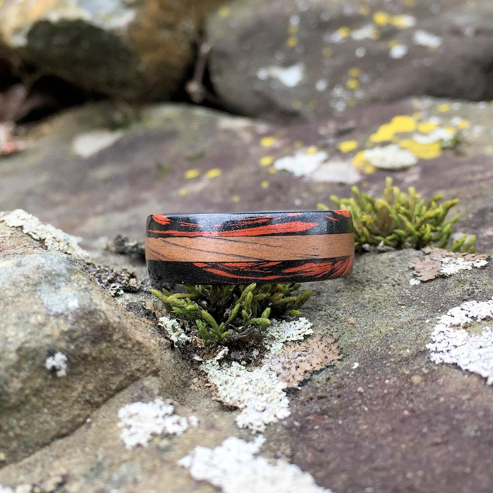 Mokume Gane Ring, Carbon Fiber Ring, Bentwood Ring, Inlay Ring, Koa Ring, Mens Ring, Wood Wedding Band, Red and Black Ring, Custom Ring