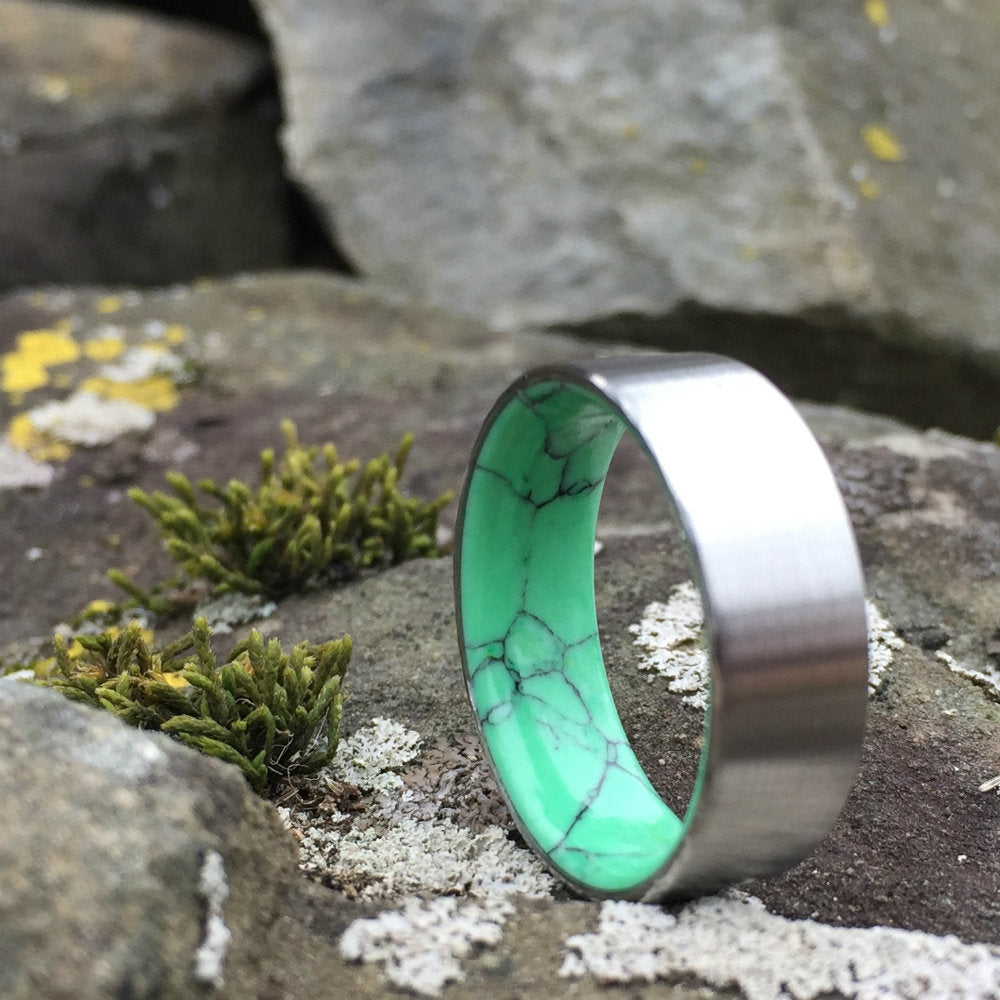 Titanium Ring, Wedding Ring, Inlay Ring, Engagement Ring, Brushed Titanium Ring, Wedding Band, Green Ring, Stone Ring, Mens Ring