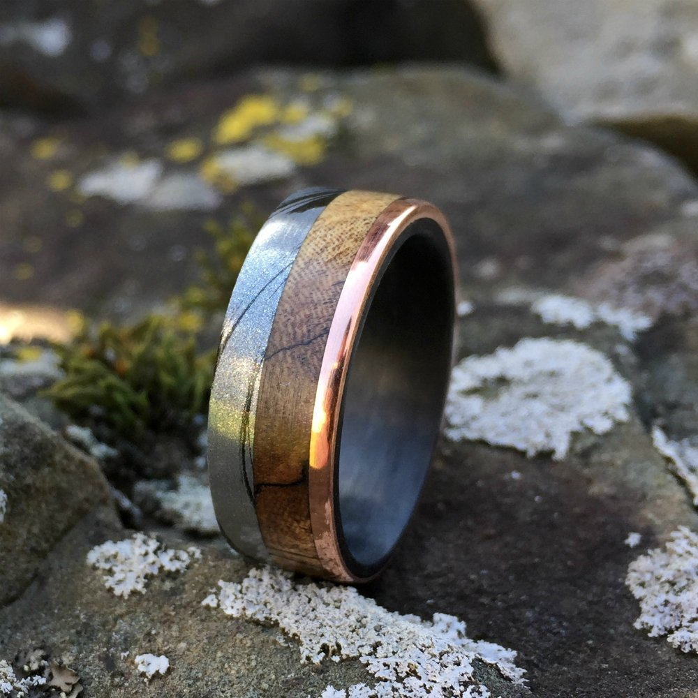 Mokume Gane Ring, Inlay Ring, Engagement Ring, Wedding Ring, Wedding Band, Mens Ring, Philippine Ebony Ring, Carbon Fiber Ring, Copper Ring