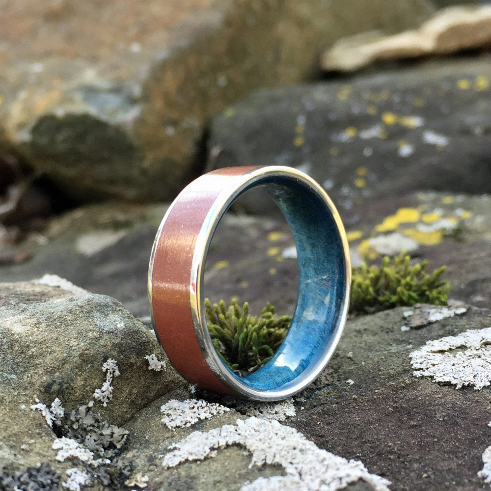 Titanium Ring, Wood Ring, Copper Ring, Steel Ring, Inlay Ring, Engagement Ring, Wedding Ring, Wood Wedding Band, Mens Ring, Composite Ring