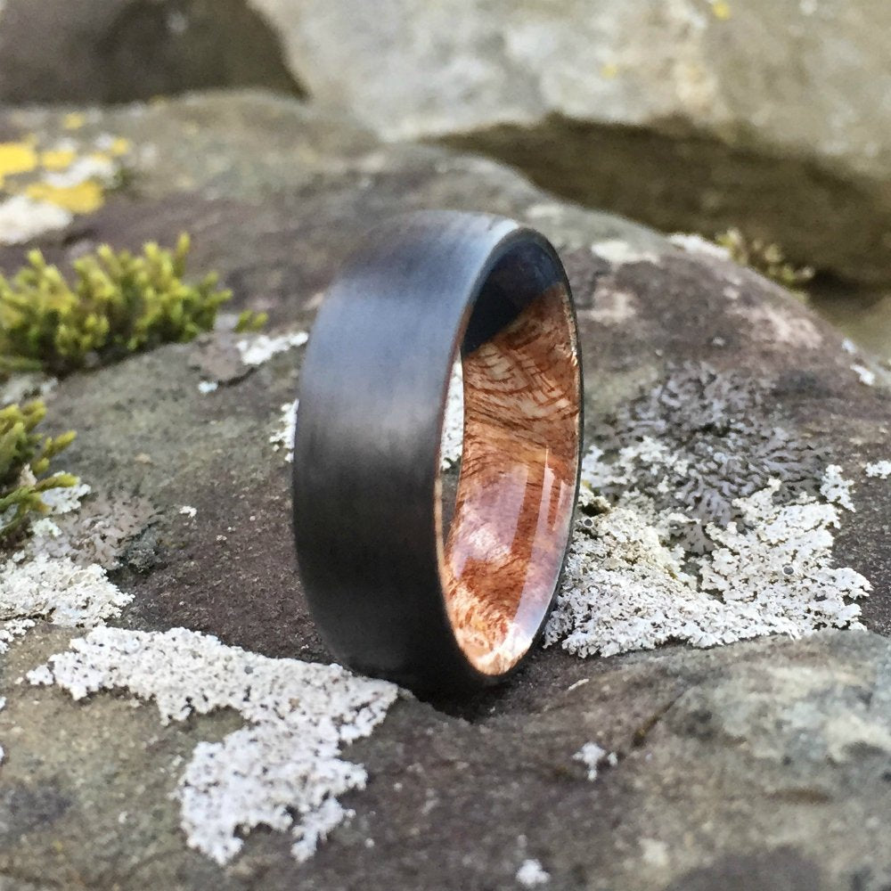 Carbon Fiber Ring, Wood Ring, Wood Inlay Ring, Engagement Ring, Wedding Ring, Wood Wedding Band, Mens Ring, Womens Ring, Koa Ring, Hawaiian