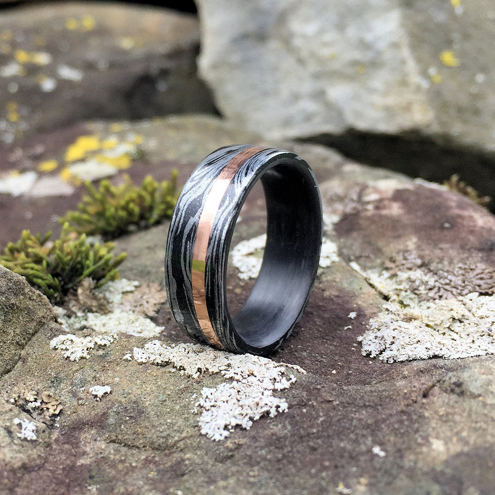 Mokume Gane Ring, Inlay Ring, Engagement Ring, Wedding Ring, Wedding Band, Mens Ring, Carbon Fiber Ring, Copper Ring, Custom Made Ring