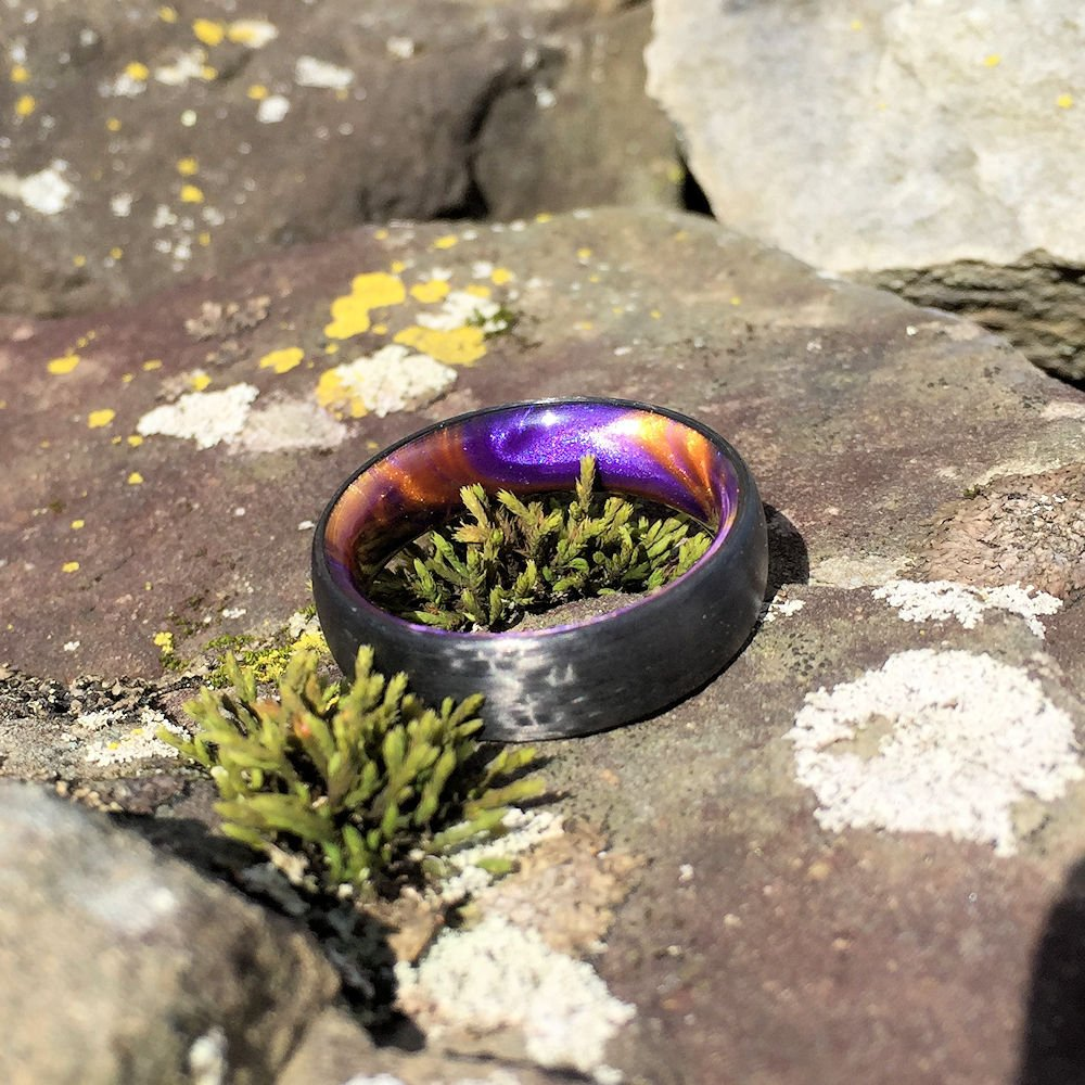 Carbon Fiber Ring, Inlay Ring, Resin Ring, Purple and Orange Ring, Purple Ring, Orange Ring, Carbon Wedding Ring, Mens Ring, Womens Ring