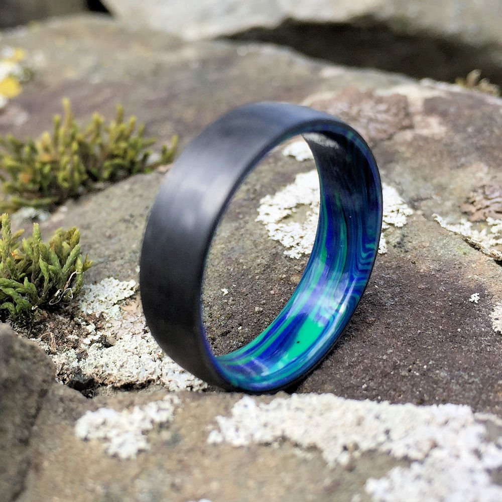 Carbon Fiber Ring, Azurite Ring, Malachite Ring, Inlay Ring, Engagement Ring, Wedding Ring, Wedding Band, Stone Ring, Black Ring, Blue Ring