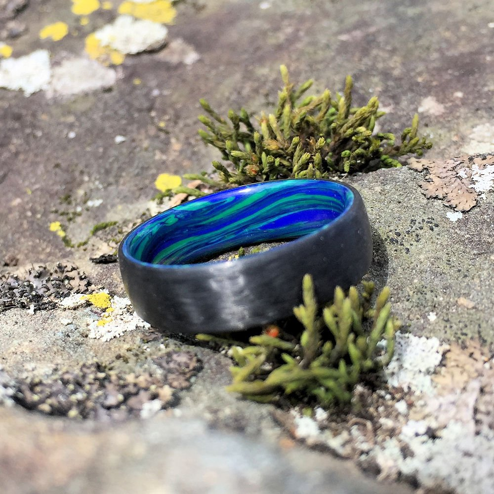 CARBON FIBER WEDDING RING WITH A BANDED AZURITE & MALACHITE INTERIOR