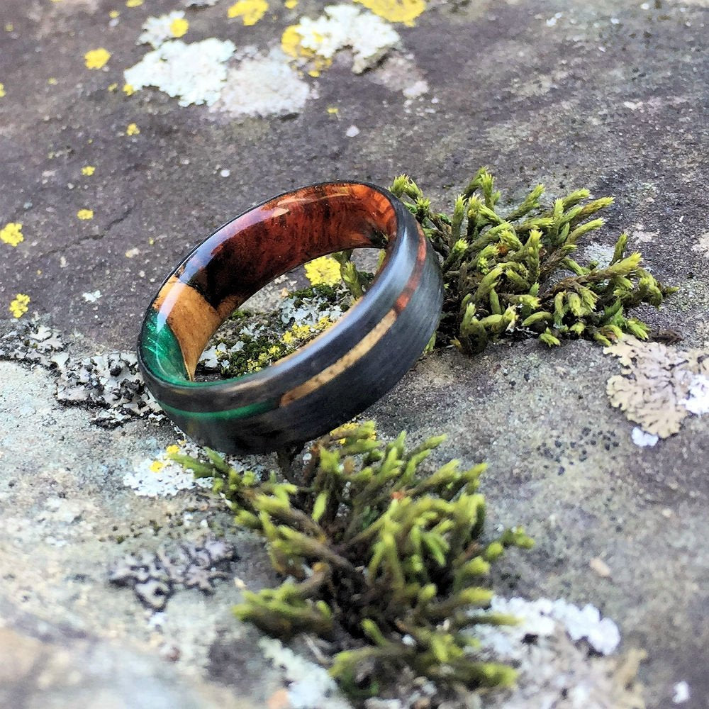 Carbon Fiber Ring, Wood Ring, Wood Inlay Ring, Engagement Ring, Wedding Ring, Wood Wedding Band, Mens Ring, Amboyna Burl Ring, Green Ring