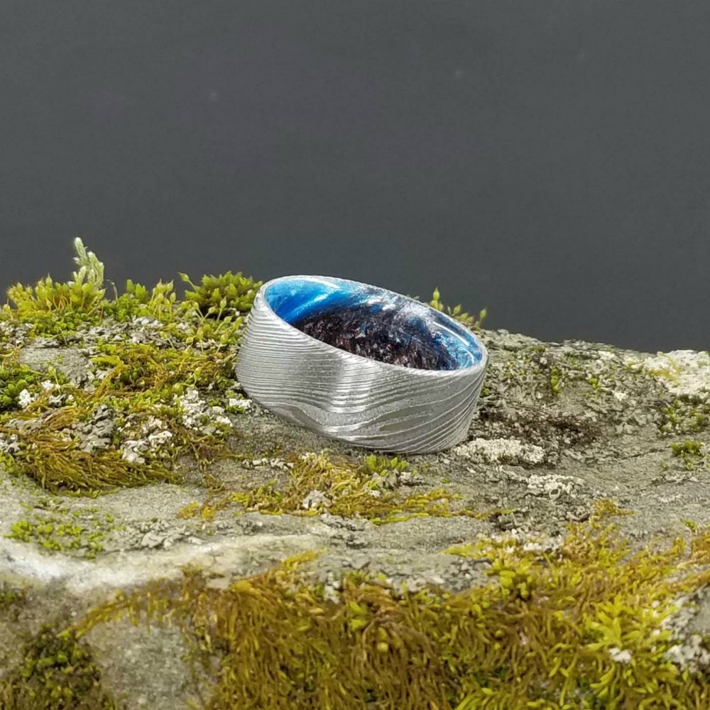 Damascus Ring, Stainless Damascus Ring, Mens Ring, Blue Resin Ring, Blue Ring, Modern Wedding Ring, Damascus Wedding Band, Resin Ring