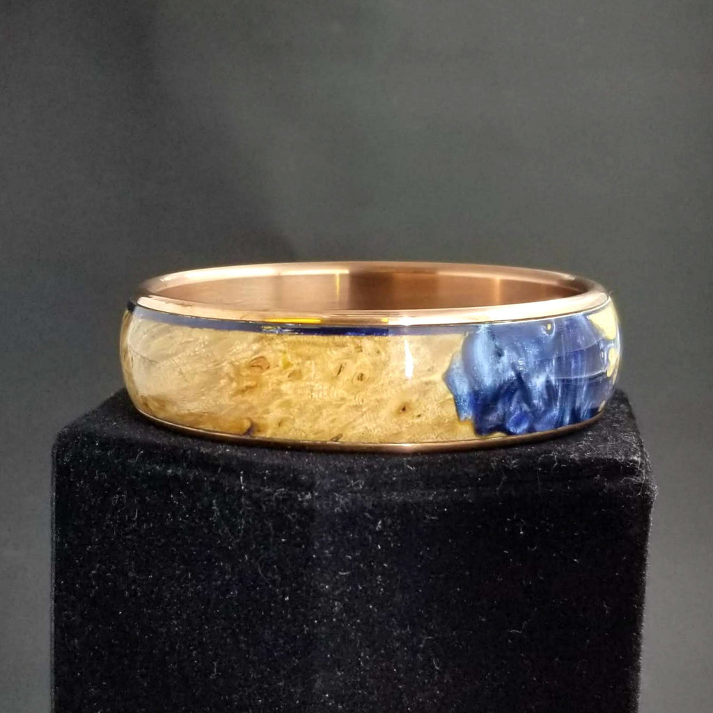 Maple Burl Bangle, Wood and Metal Bangle, Wood and Resin Bracelet, Custom Copper Bangle, Anniversary Gift, Valentines Day Gift, Blue Resin