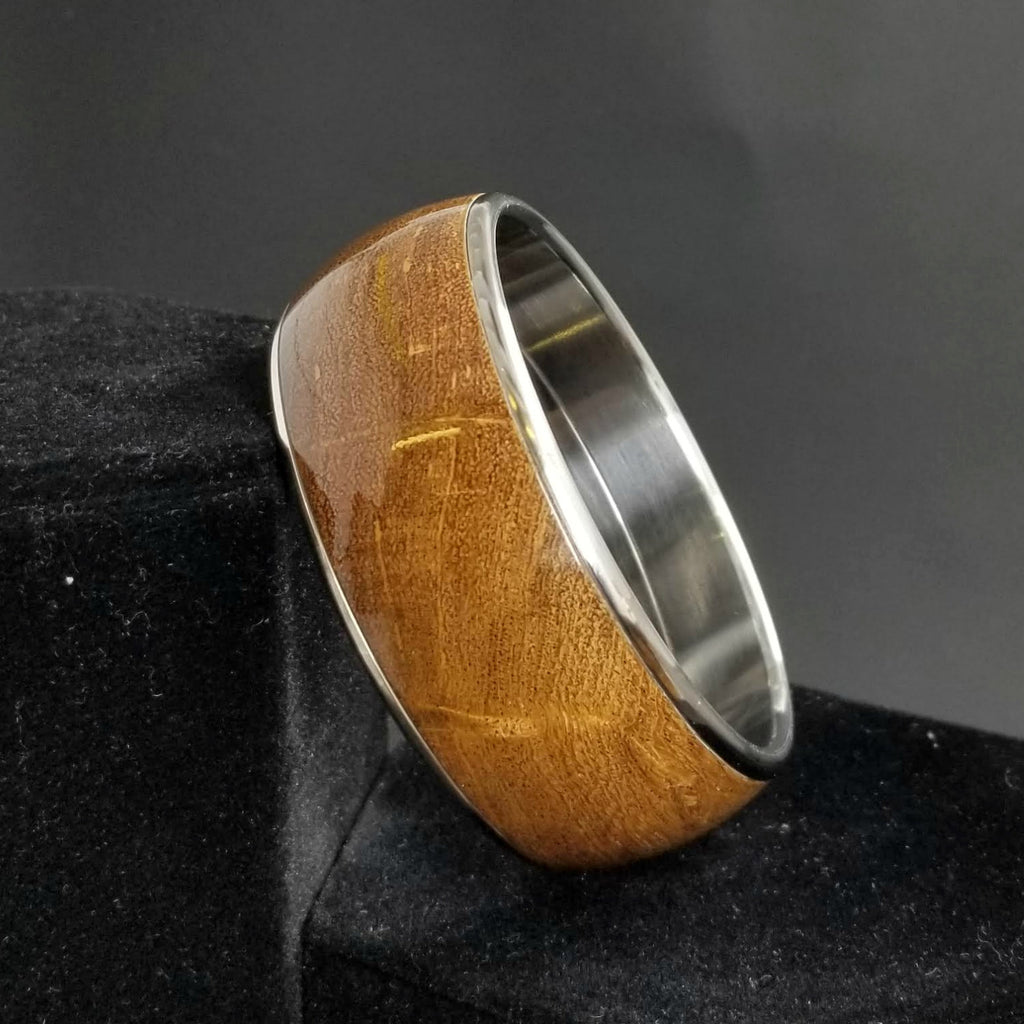 Mesquite Burl Bangle, Wood + Metal Bangle, Wood Burl Bracelet, Custom Bangle, Anniversary Gift, Valentines Day Gift, Stainless Steel Bangle