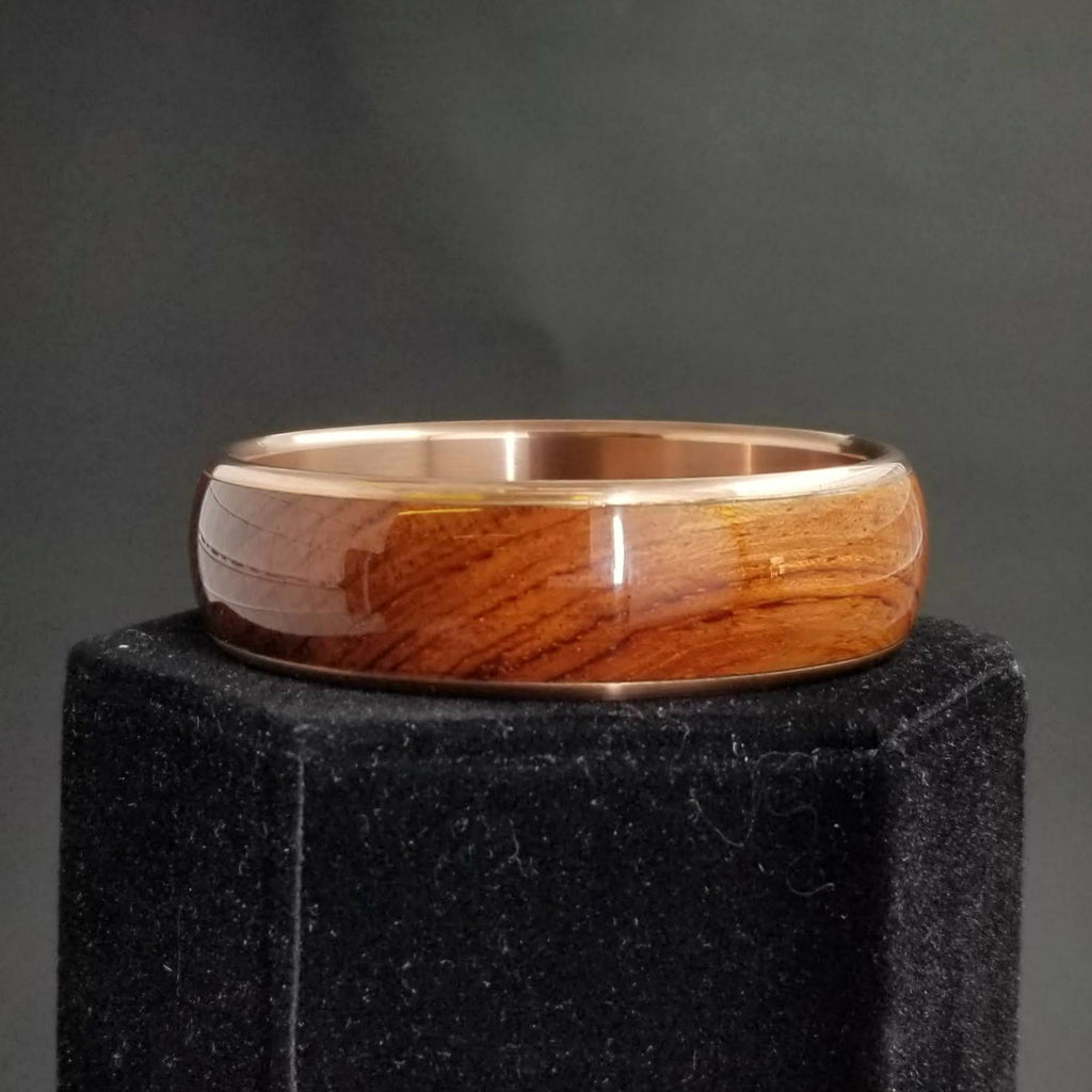 Rosewood Bangle, Wood and Metal Bangle, Wood Burl Bracelet, Custom Bangle, Anniversary Gift, Valentines Day Gift, Copper Bangle Bracelet