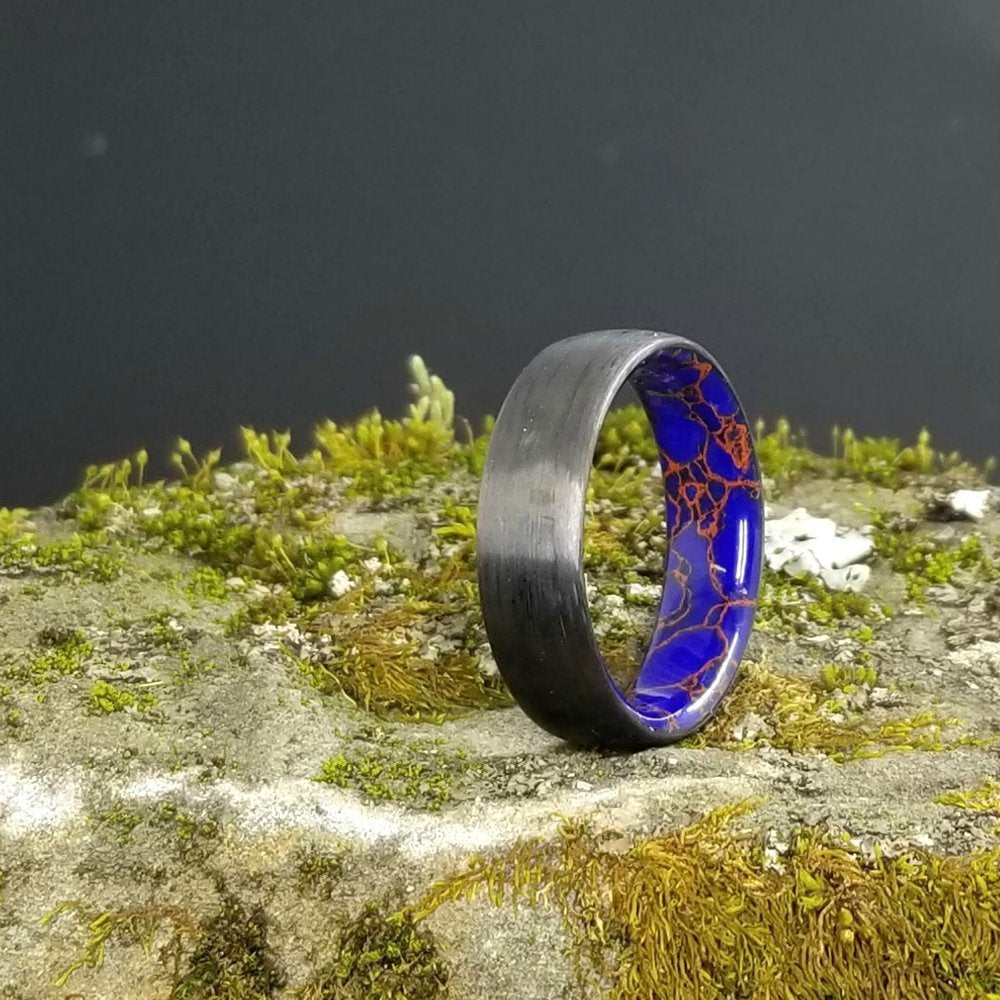 CARBON FIBER RING / AZURITE RING / CARBON FIBER AZURITE WEDDING RING