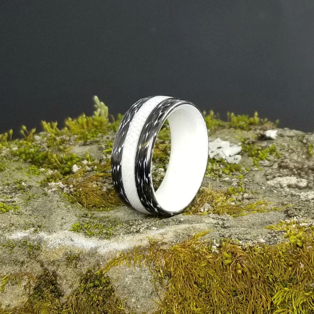 Carbon Fiber Ring, G10 Ring, Black and White Ring, Modern Wedding Ring, Wedding Ring, Carbon Fiber Wedding Band, Mens Ring, Custom Made Ring