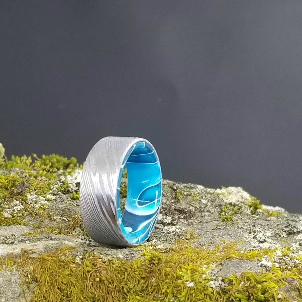 Damascus Ring, Modern Wedding Ring, Stainless Damascus Ring, Mens Ring, Blue Resin Ring, Blue Ring, Damascus Wedding Band, Resin Ring