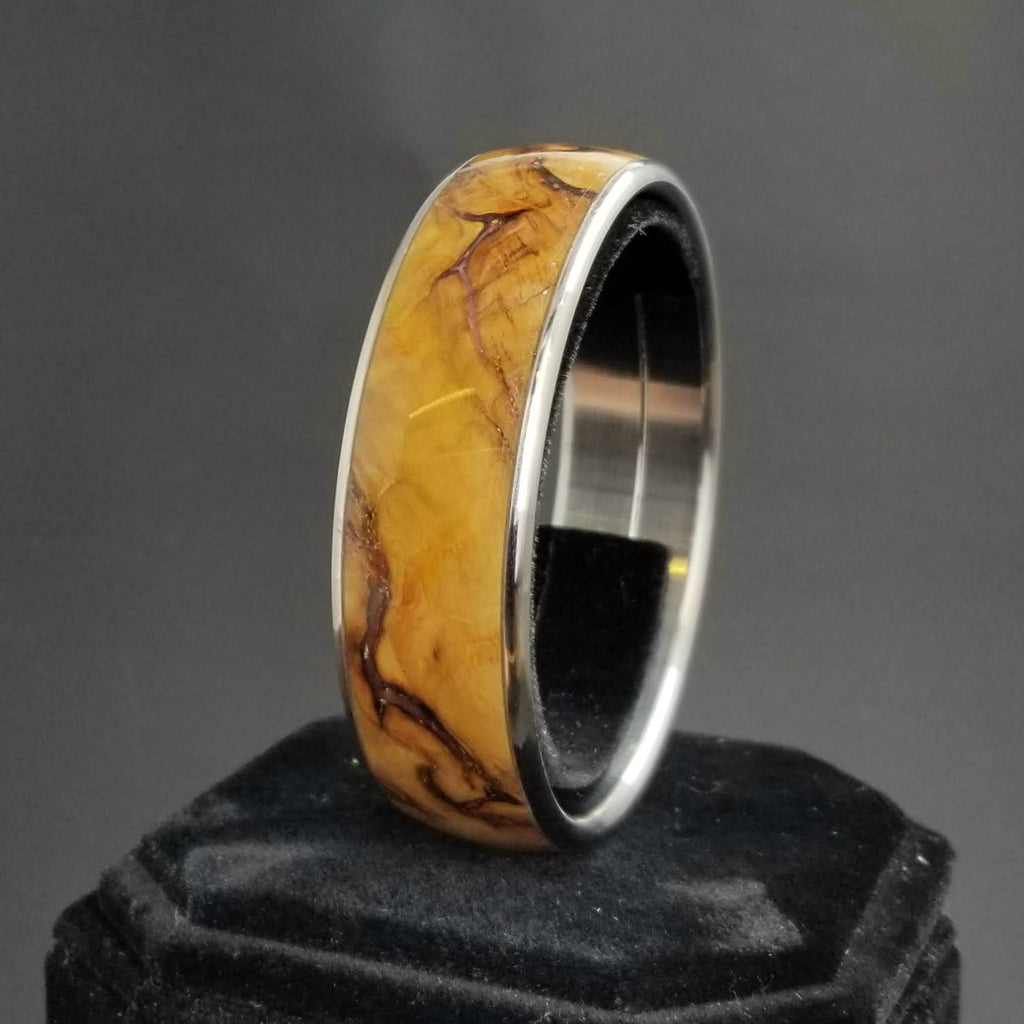 Yellow Box Burl Bangle, Wood and Metal Bangle, Wood and Resin Bracelet, Custom Stainless Bangle, Anniversary Gift, Valentines Day Gift