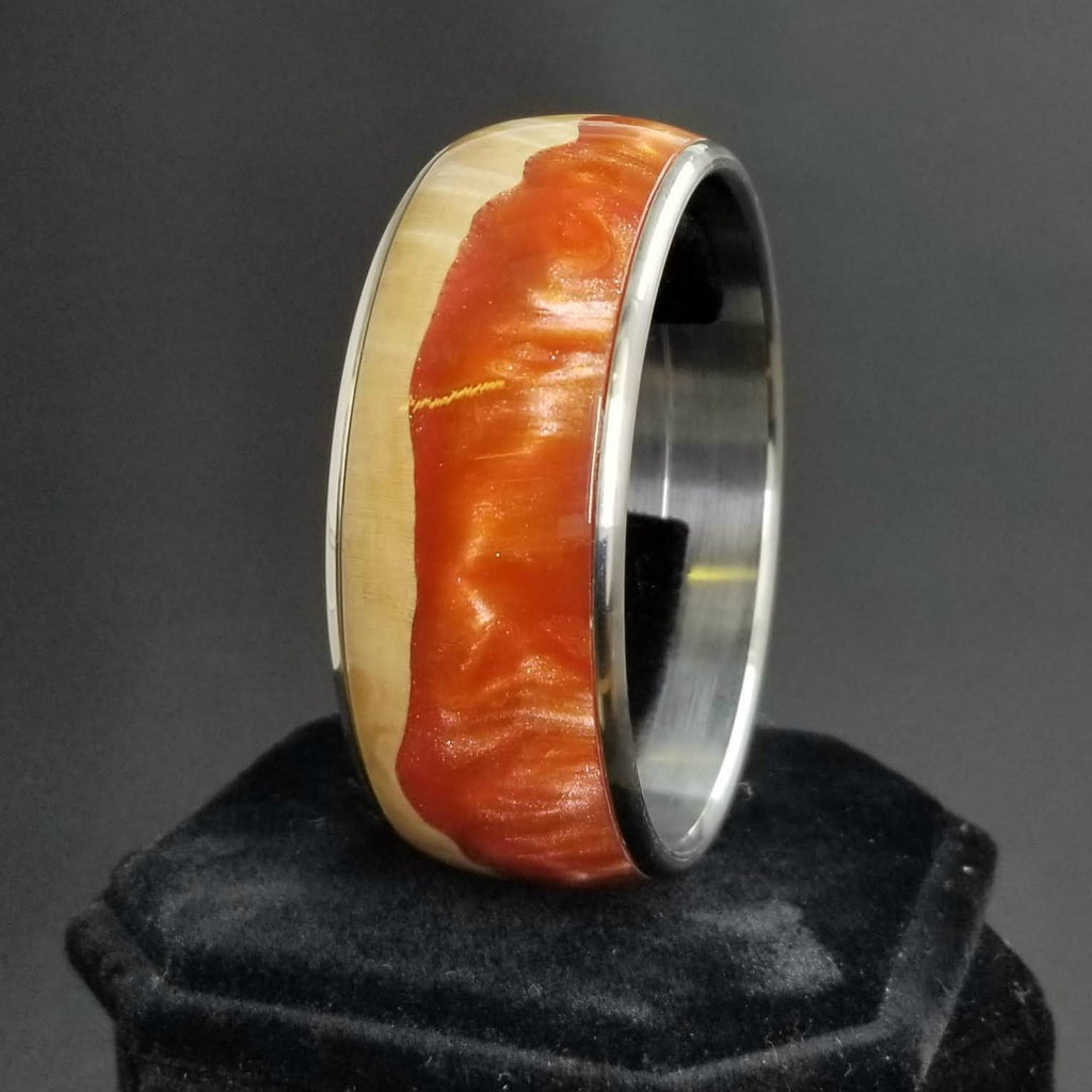 Maple Burl Bangle, Wood and Metal Bangle, Wood and Resin Bracelet, Custom Bangle, Anniversary Gift, Valentines Day Gift, Mom, Salmon Peach