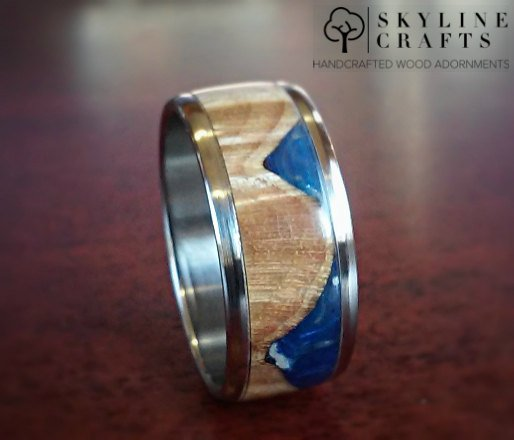 Maple Cast Wood Resin Hybrid Ring. Choice of 316 Stainless Steel or Titanium. Handcrafted Wood Ring. Wood Wedding Band